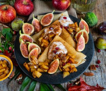 Vegane Crêpes mit Apfel Zimt Füllung