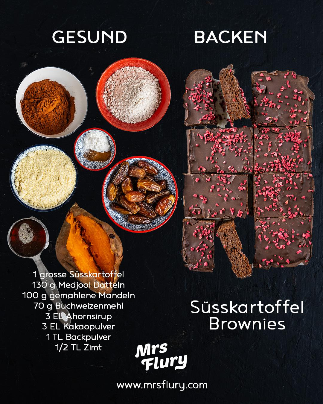 Gesunde Süsskartoffel Brownies vegan & glutenfrei Mrs Flury