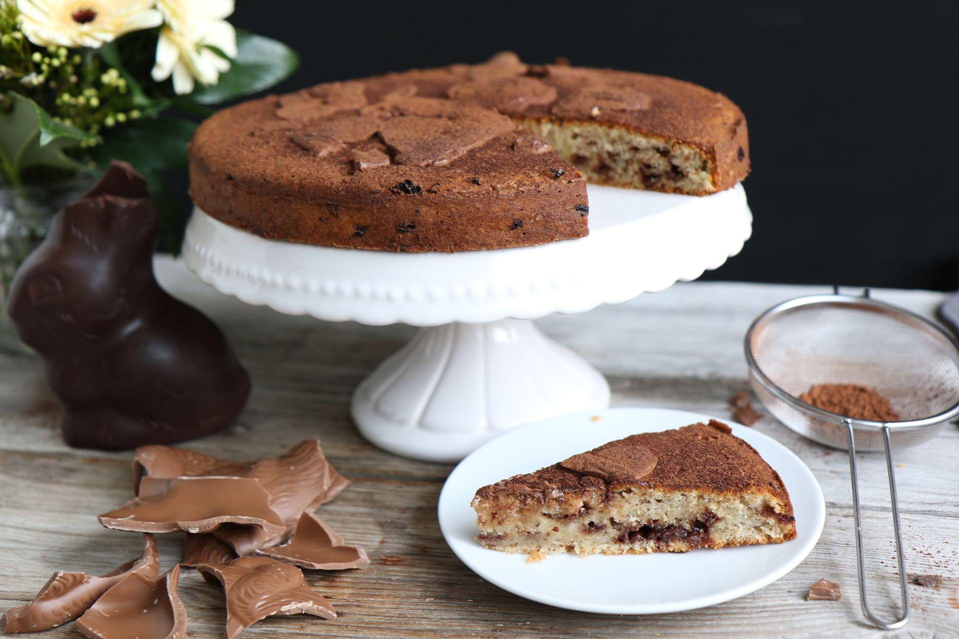 saftiger schoko nuss kuchen mit osterhasen schokolade mrs flury gesund essen leben. Black Bedroom Furniture Sets. Home Design Ideas