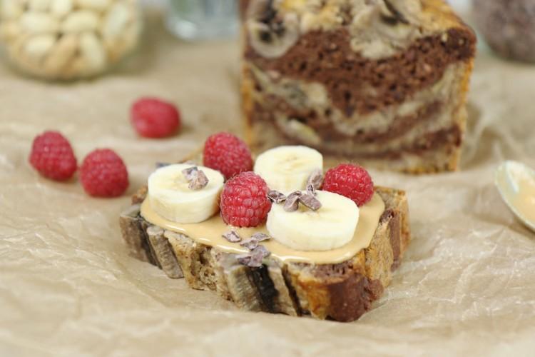 Veganes Zebra-Schokoladen-Bananenbrot