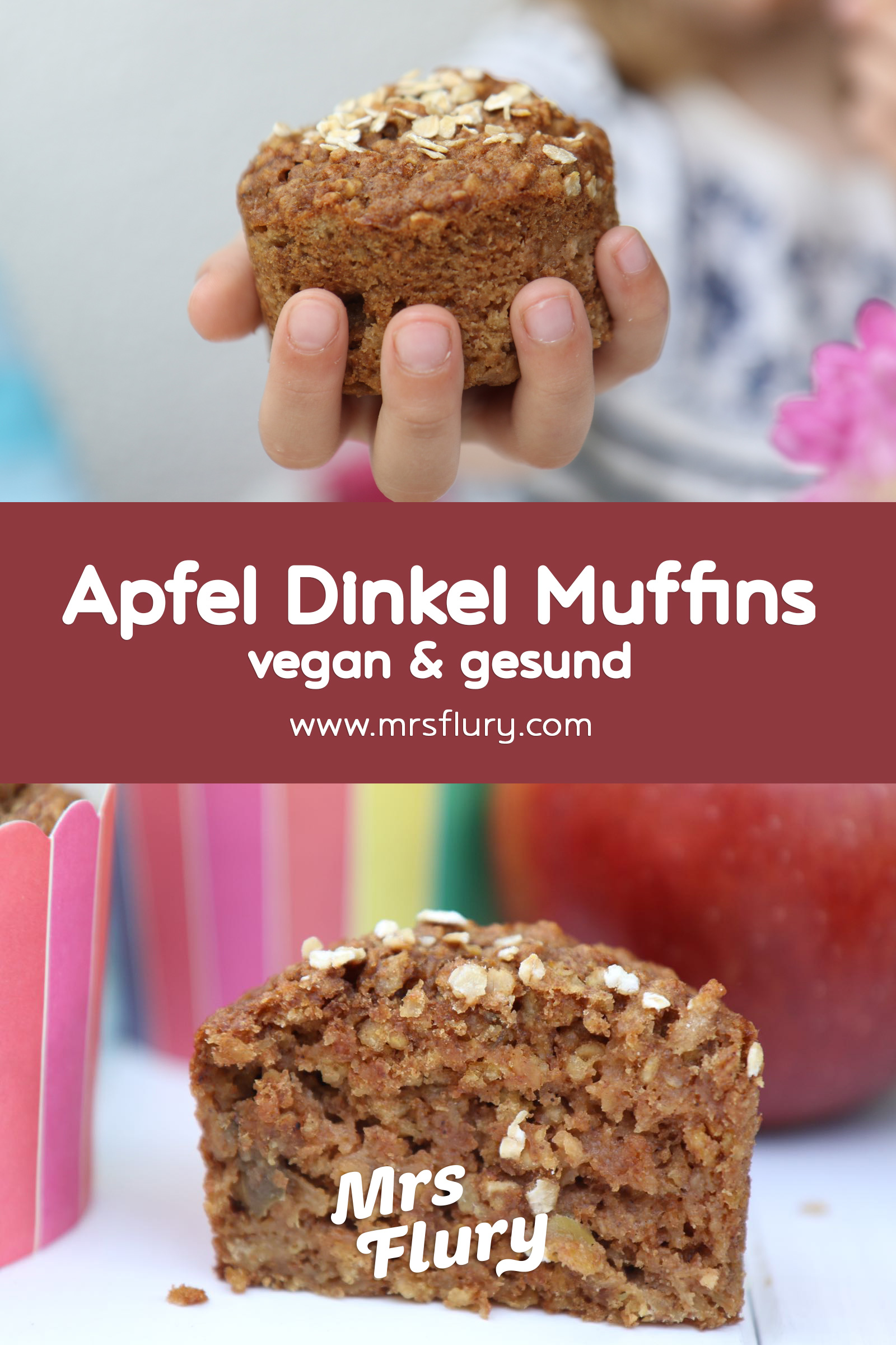 Saftige Apfel-Dinkel Muffins vegan - ideal für Kinder, Mrs Flury Rezept