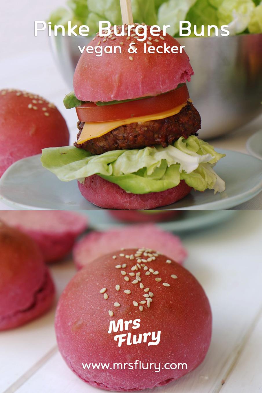 Pinke Hamburger-Brötchen vegan Mrs Flury