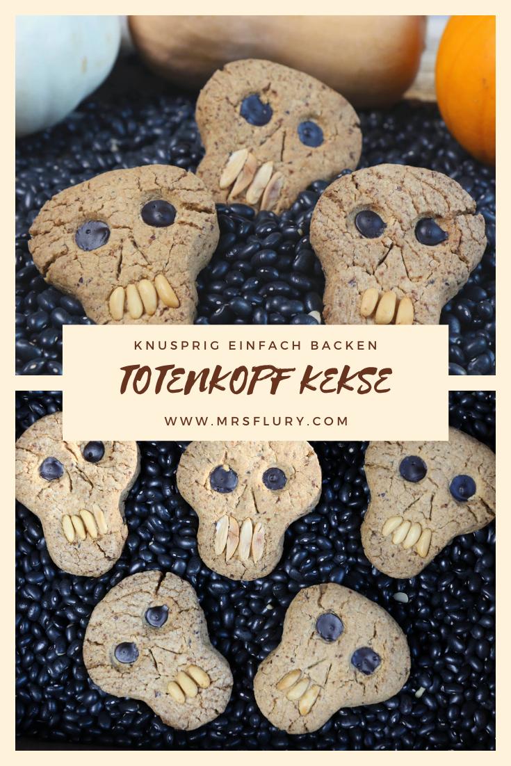 Einfache Halloween Cookies - Totenkopf Kekse Mrs Flury