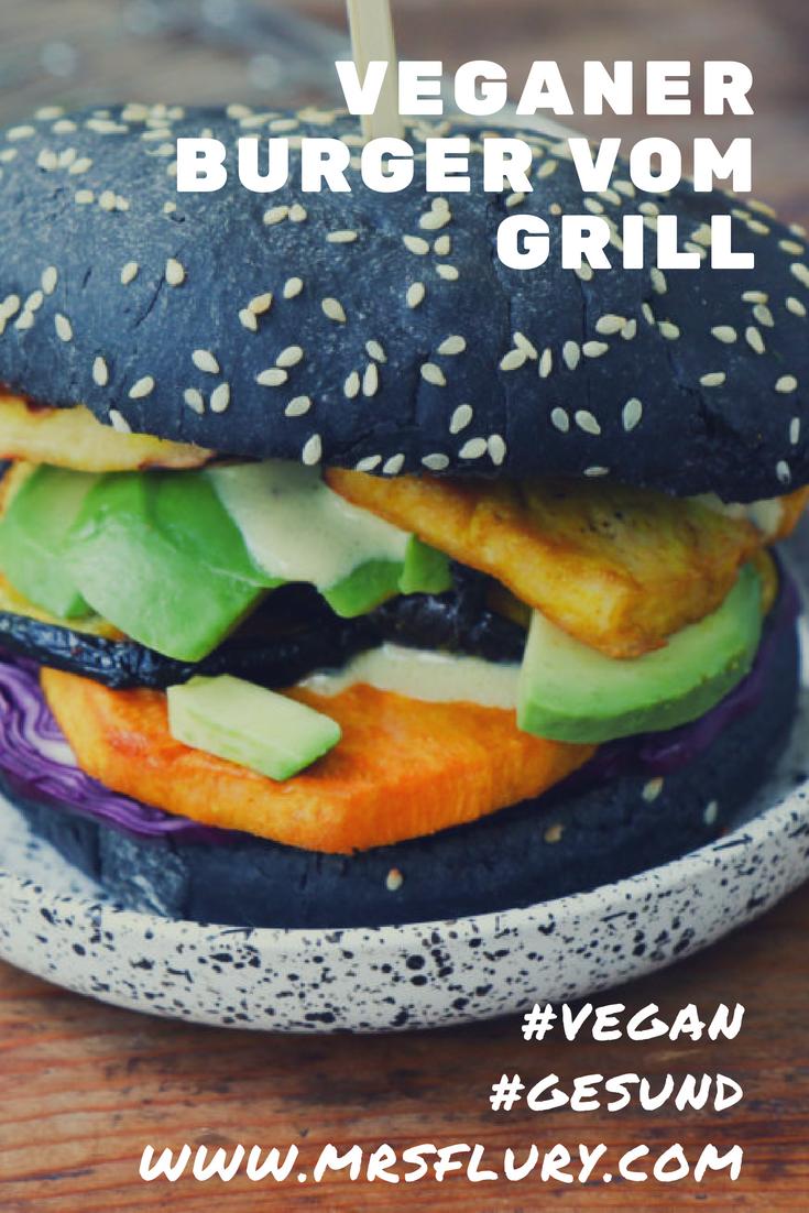 Veggie Burger vom Grill mit Süsskartoffen und Tofu