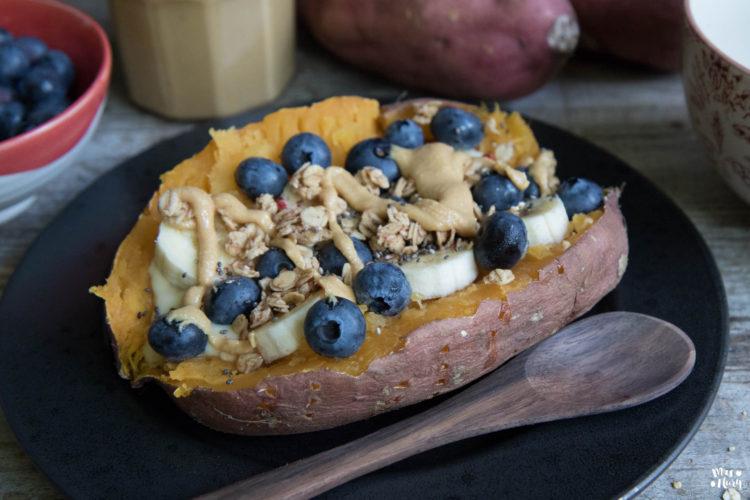 (Deutsch) Gebackene Süsskartoffeln zum Frühstück