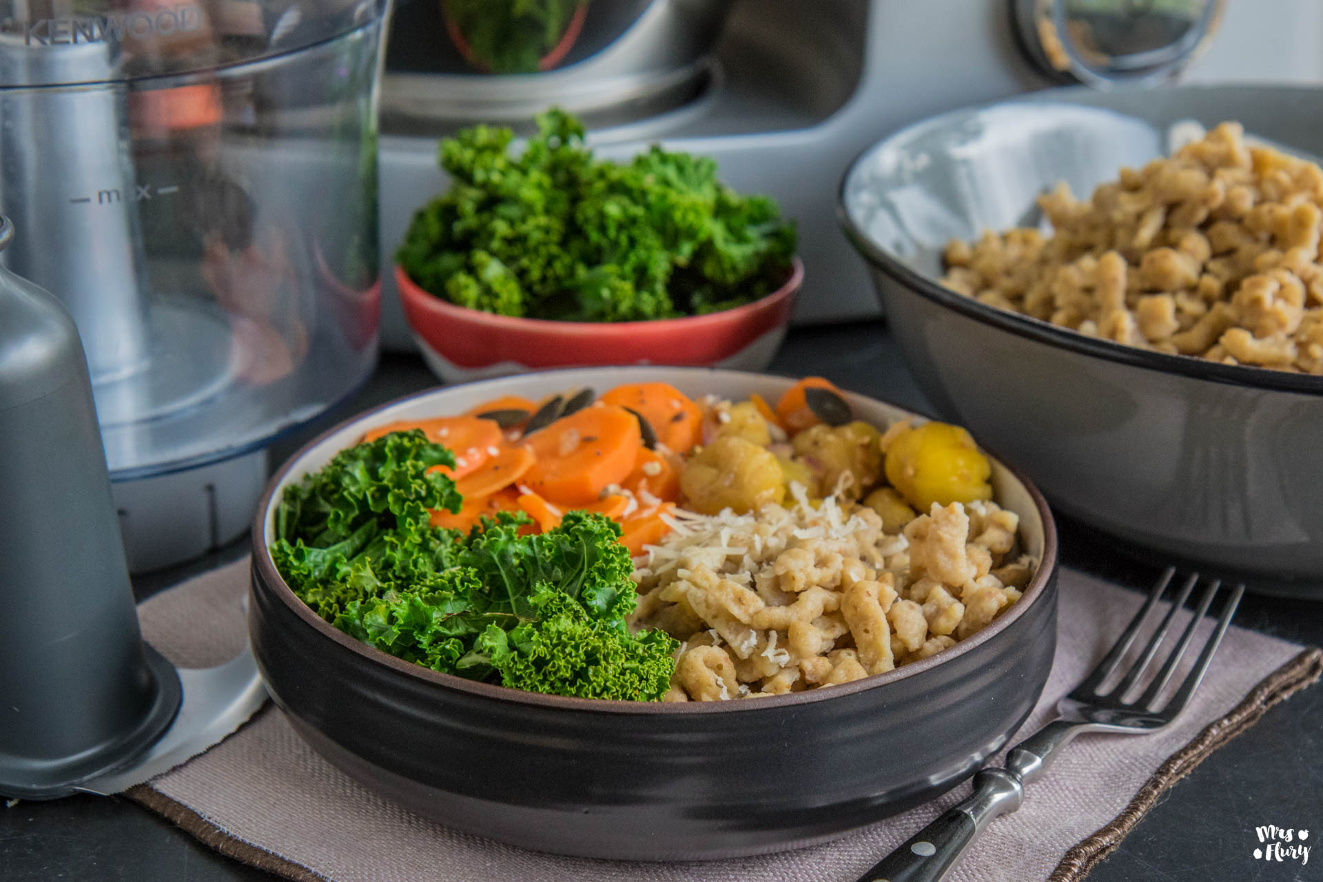 Marroni Spätzli Pfanne mit Gemüse