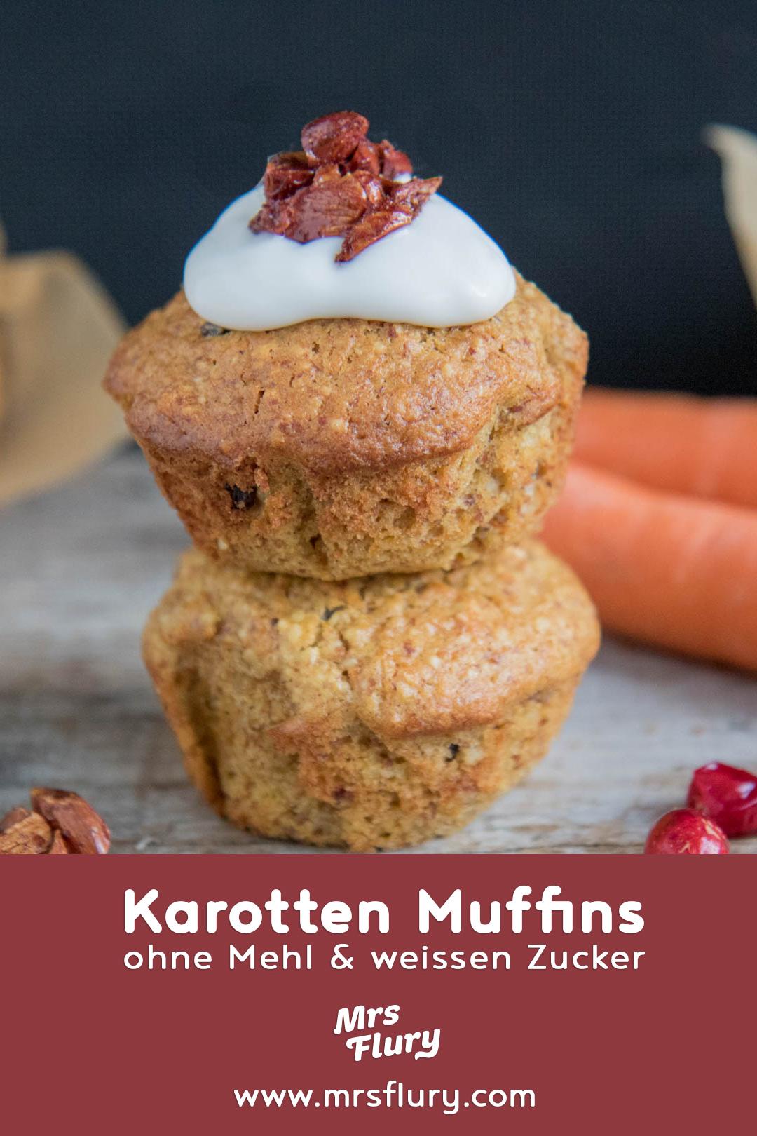 Karotten Muffins ohne Mehl und ohne weissen Zucker Mrs Flury