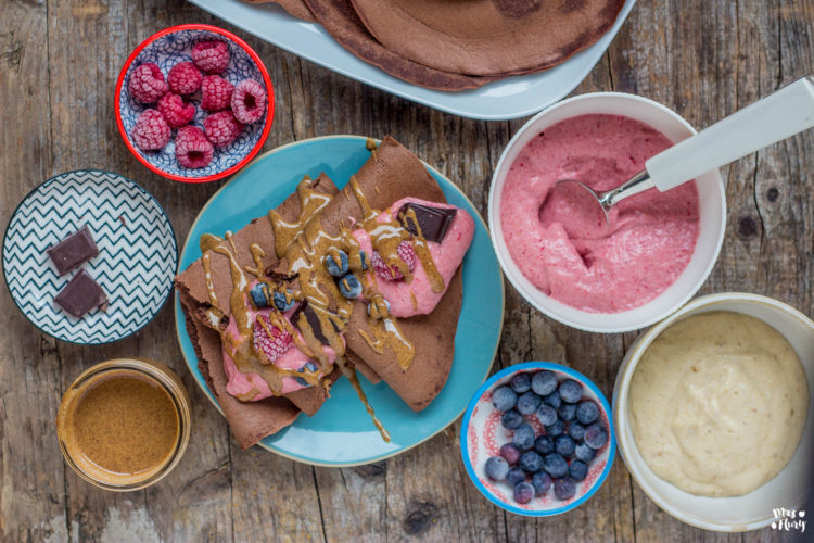 Schoko Crêpes mit Nicecream vegan & glutenfrei