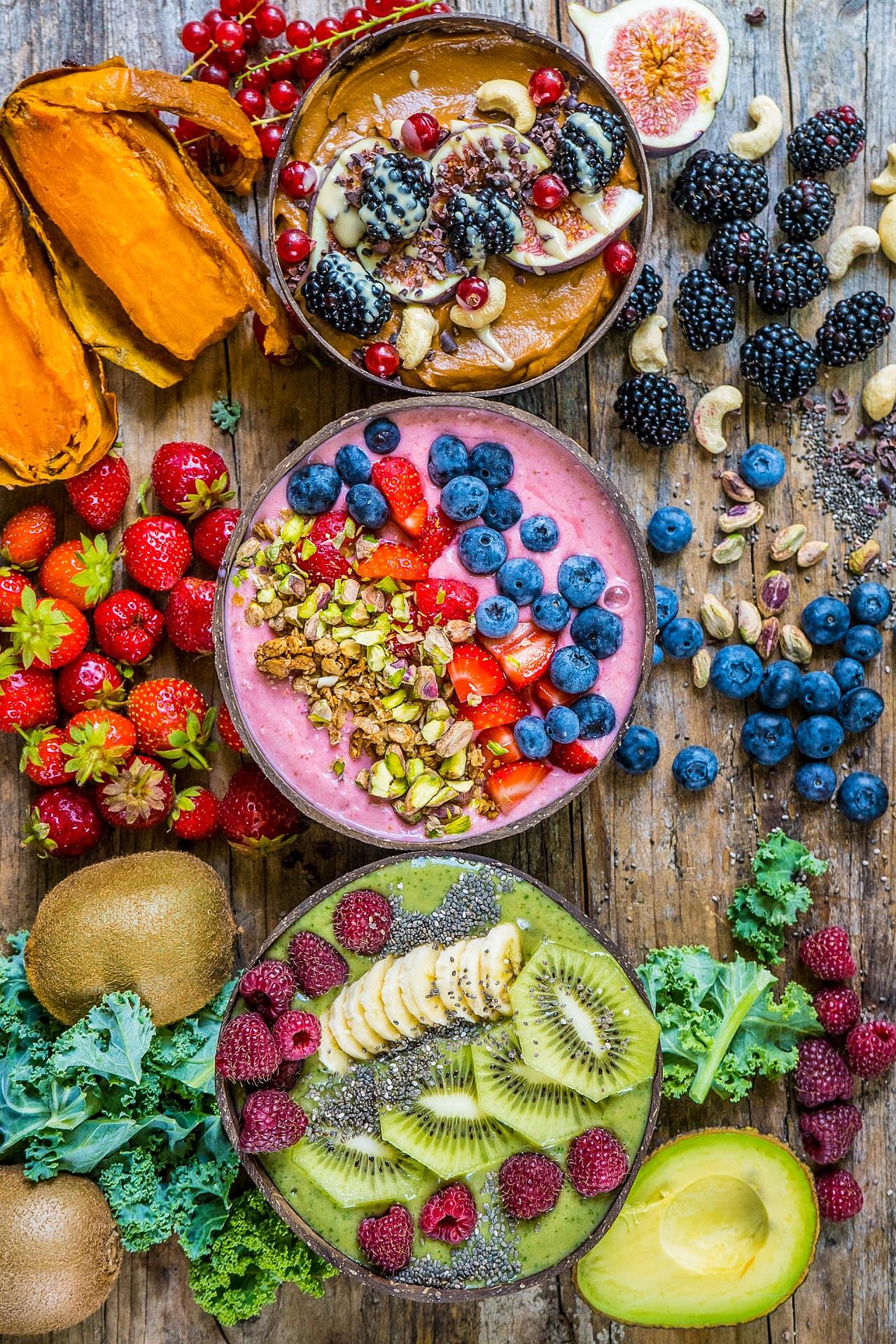 3 Gesunde Smoothie Bowl Rezepte vegan zuckerfrei glutenfrei
