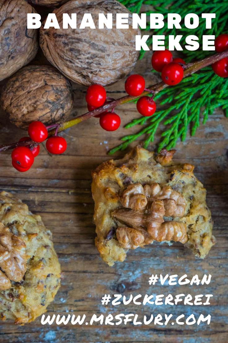 Gesunde Bananenbrot Kekse vegan Cookies Mrs Flury