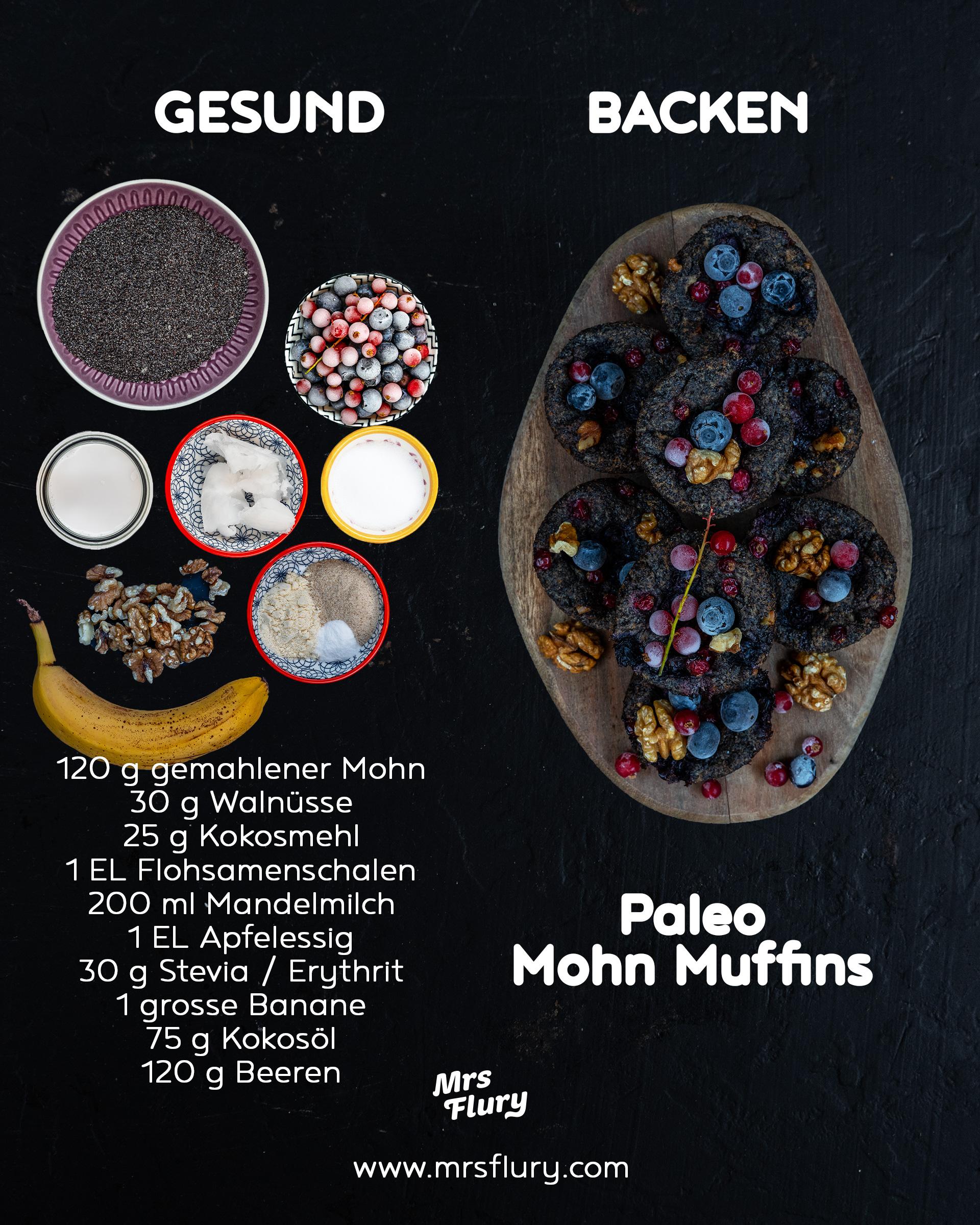Gesunde Paleo Mohn Muffins vegan Mrs Flury