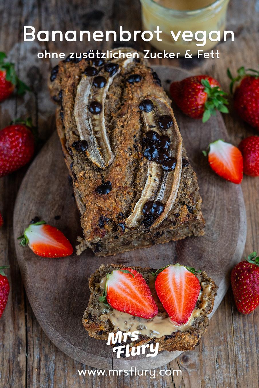 Veganes Bananenbrot ohne Zucker und ohne Fett Mrs Flury