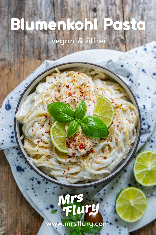 Gesunde Pasta mit Blumenkohl Sauce vegan Mrs Flury