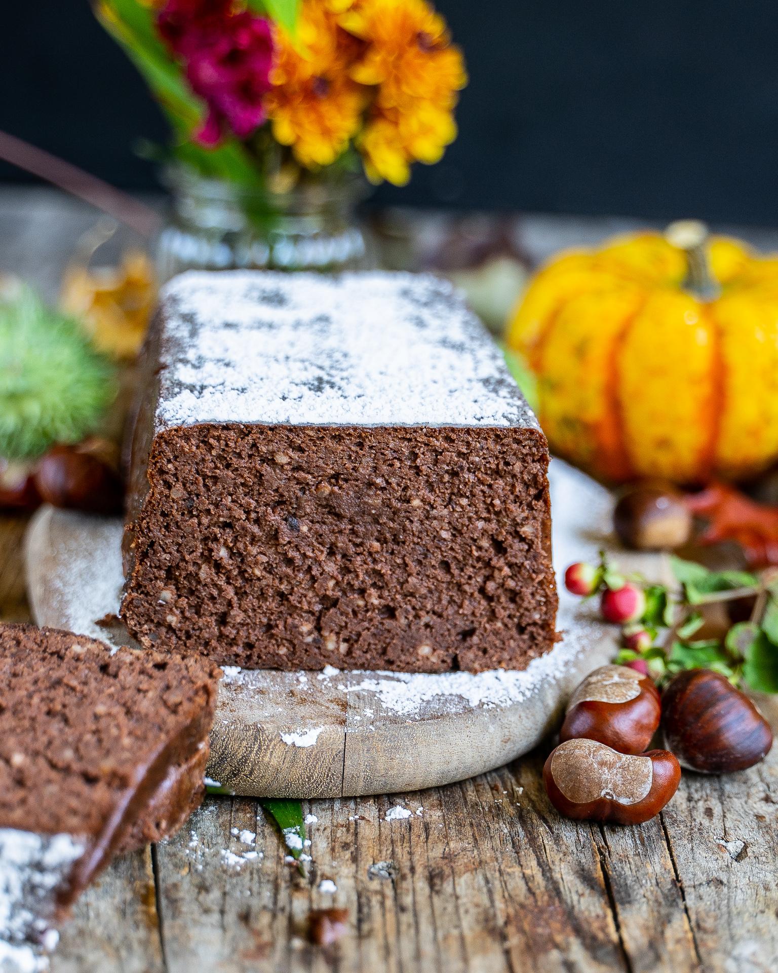 Saftiger Marronikuchen ohne Mehl, ohne Fett backen Mrs Flury