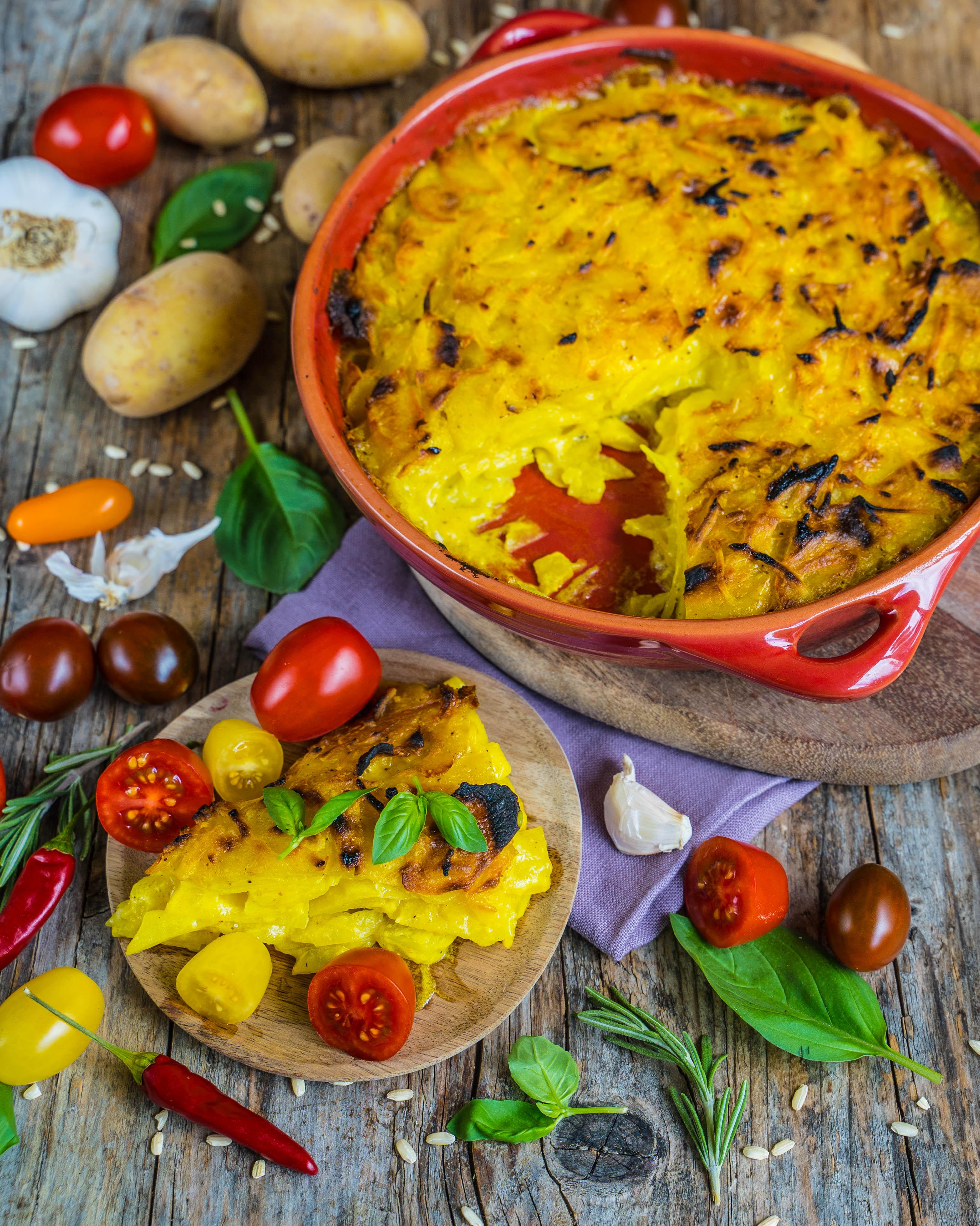 Kartoffel Gratin vegan Mrs Flury gesund vegan gesund essen familienrezent