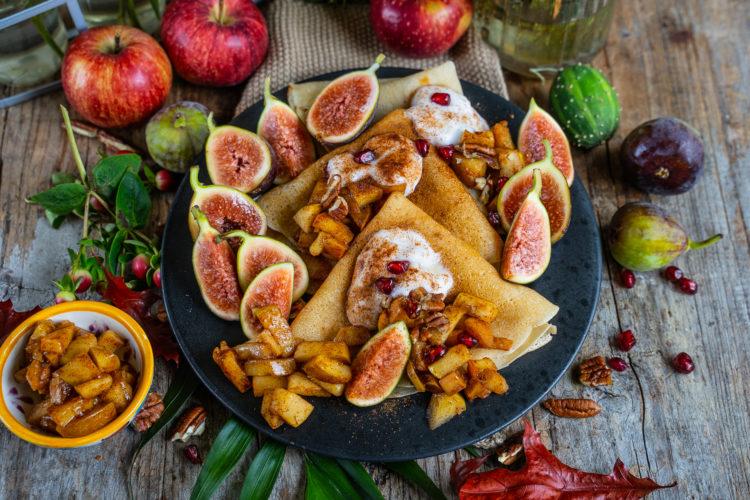 Vegane Crêpes Rezept mit Bratapfel Füllung Mrs Flury