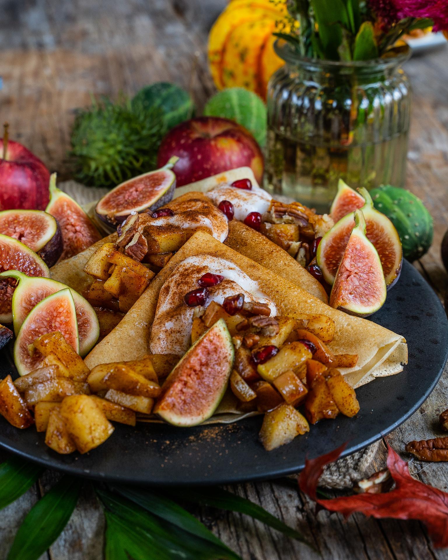 Vegane Crêpes Rezept mit Apfel Füllung Mrs Flury