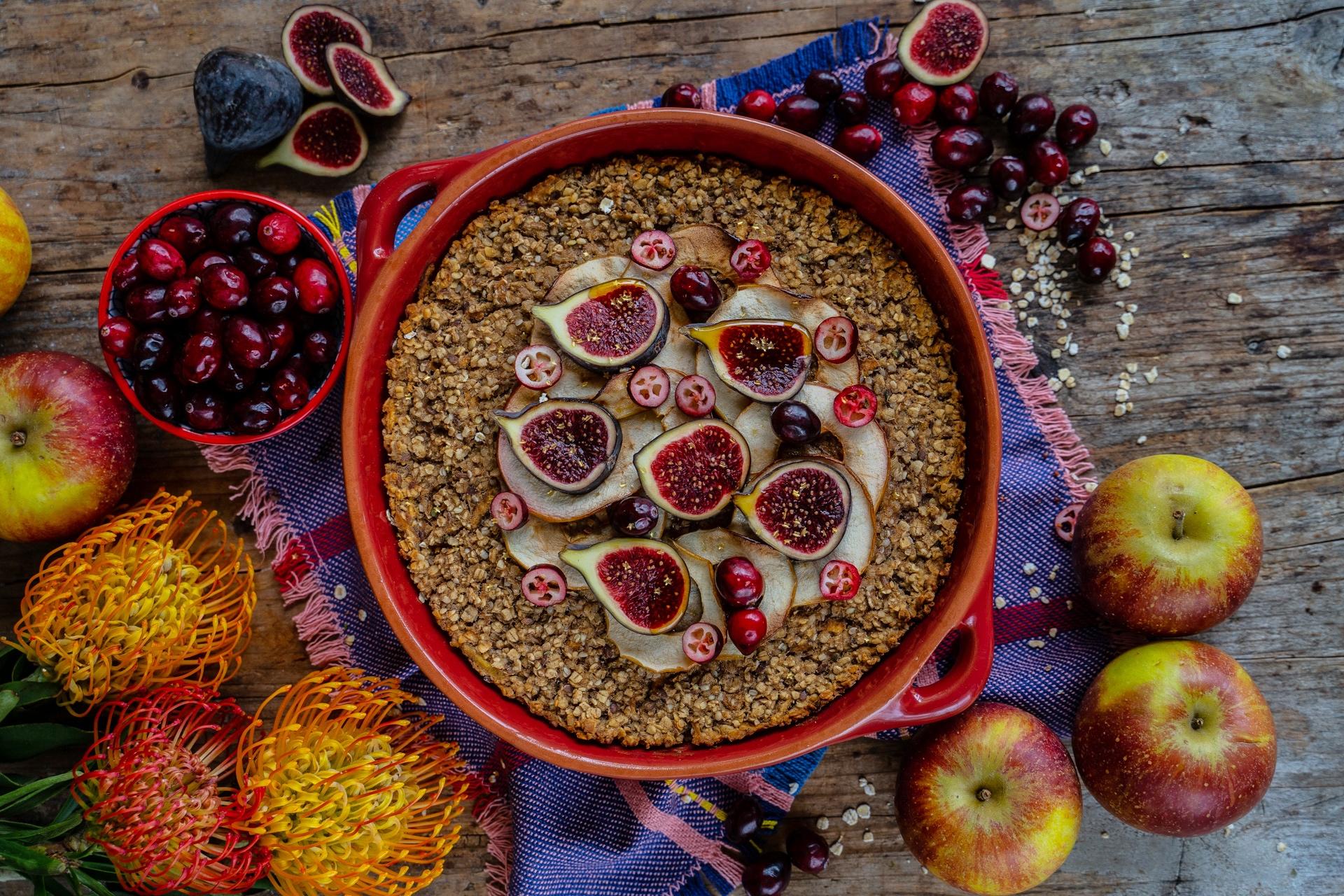 Apfel Protein Baked Oatmeal vegan - Gesunder Haferflocken Auflauf Mrs Flury