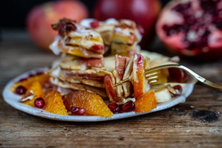Gesunde Apfelpfannkuchen vegan, Öpfelchüechli, Apfelküchlein Rezept