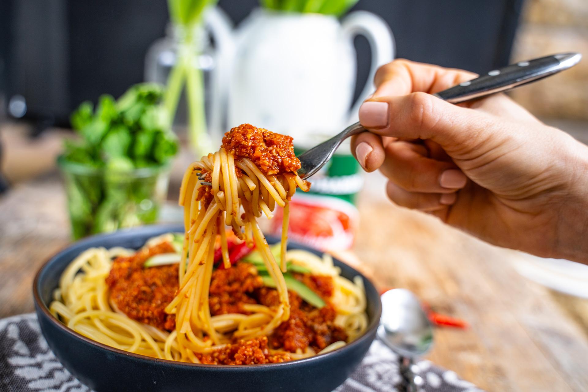 Gesunde Pilz Bolognese Sauce vegan Rezept Mrs Flury
