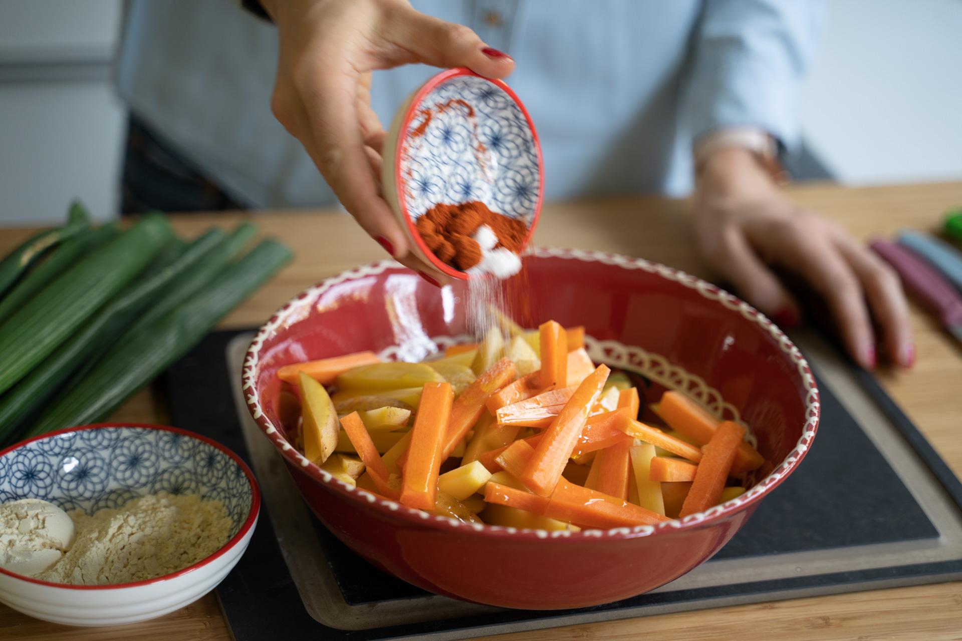 Kichererbsen-Burger und Pommes selber machen