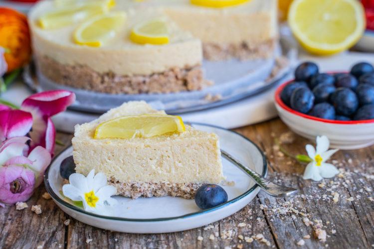 Zitronen Käsekuchen vegan & gesund Mrs Flury
