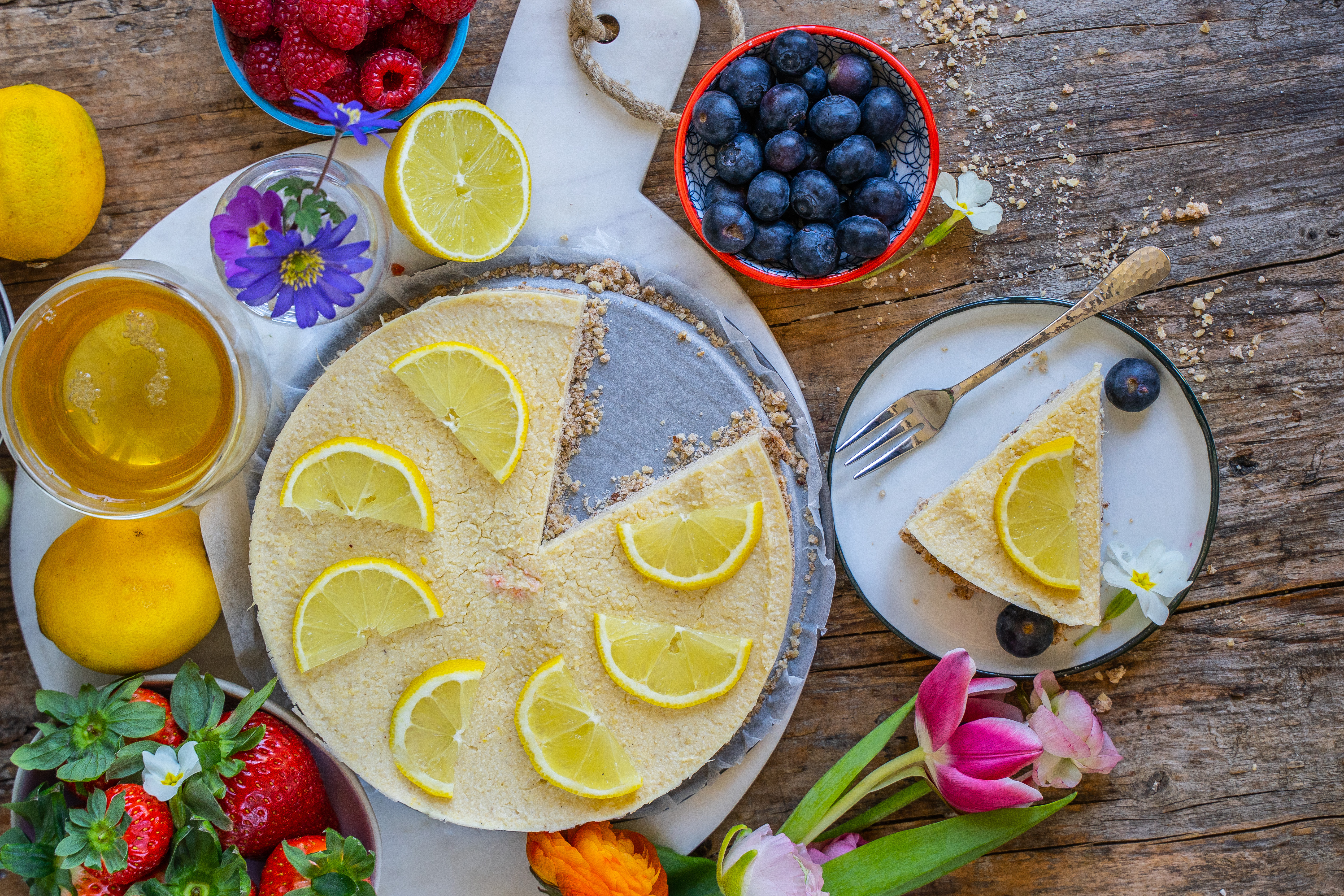 Zitronen Käsekuchen gesund & vegan Mrs Flury
