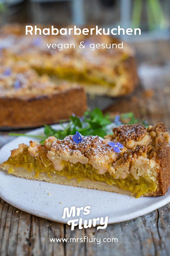 Rhabarber Streuselkuchen vegan Mrs Flury
