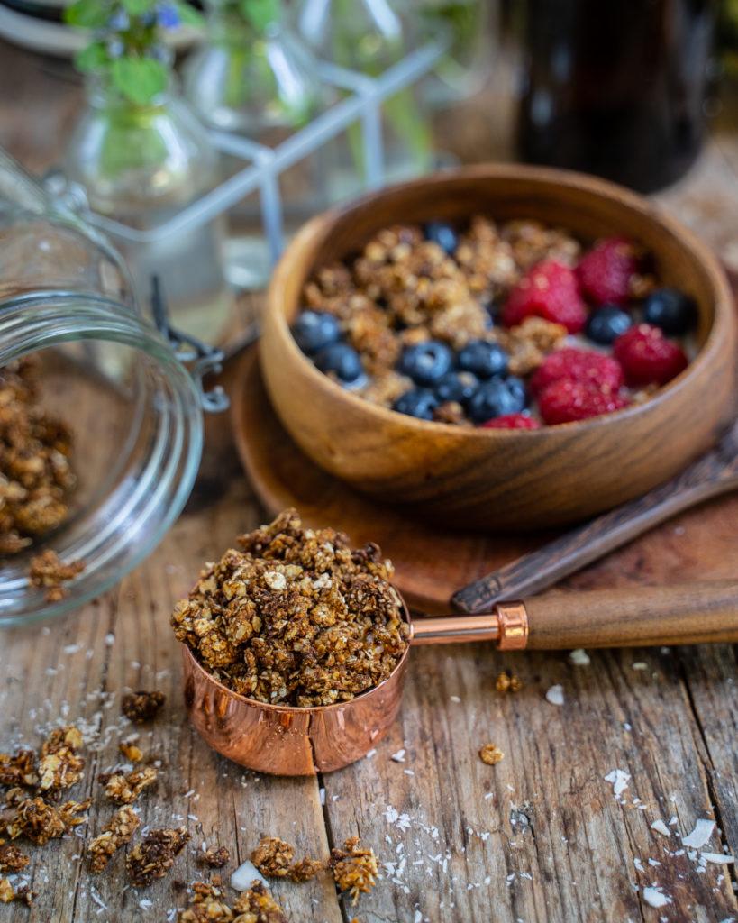 Schoko Erdnussbutter Granola selber machen - 5 Zutaten Rezept Mrs Flury