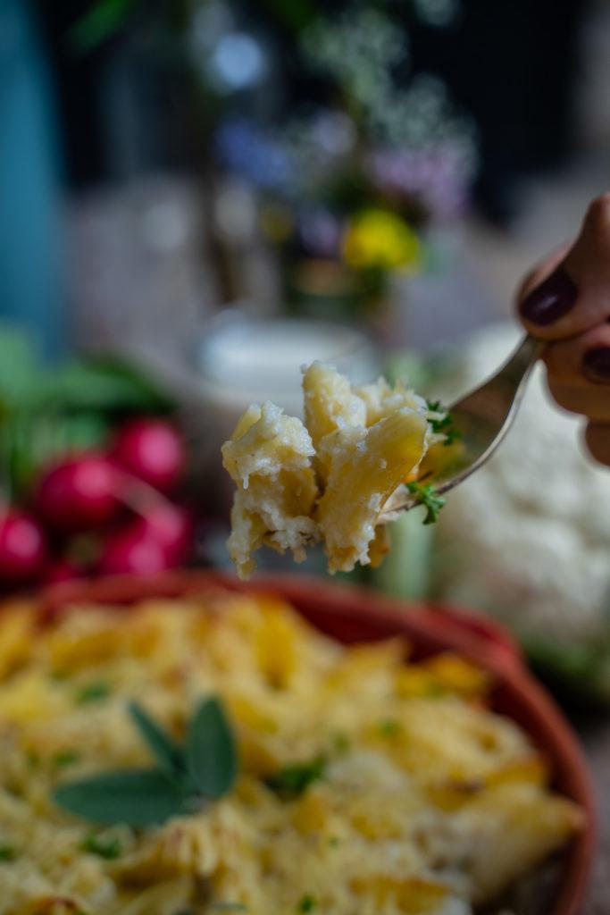 Blumenkohl Pasta Auflauf gesund & vegan Mrs Flury