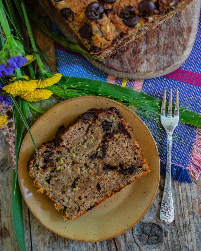 Gesunder Zucchini Kuchen vegan backen Mrs Flury