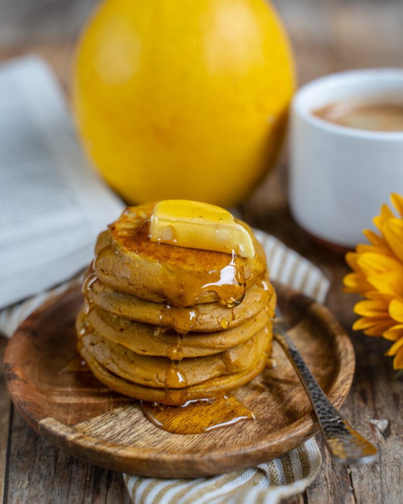 Gesunde Kürbis Pancakes vegan Mrs Flury