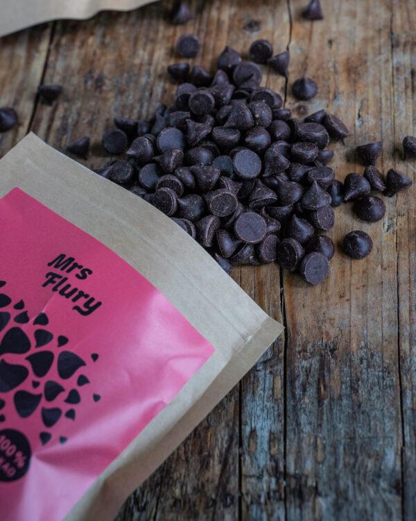 Vegane Schoko Drops 100% Kakao Mrs Flury