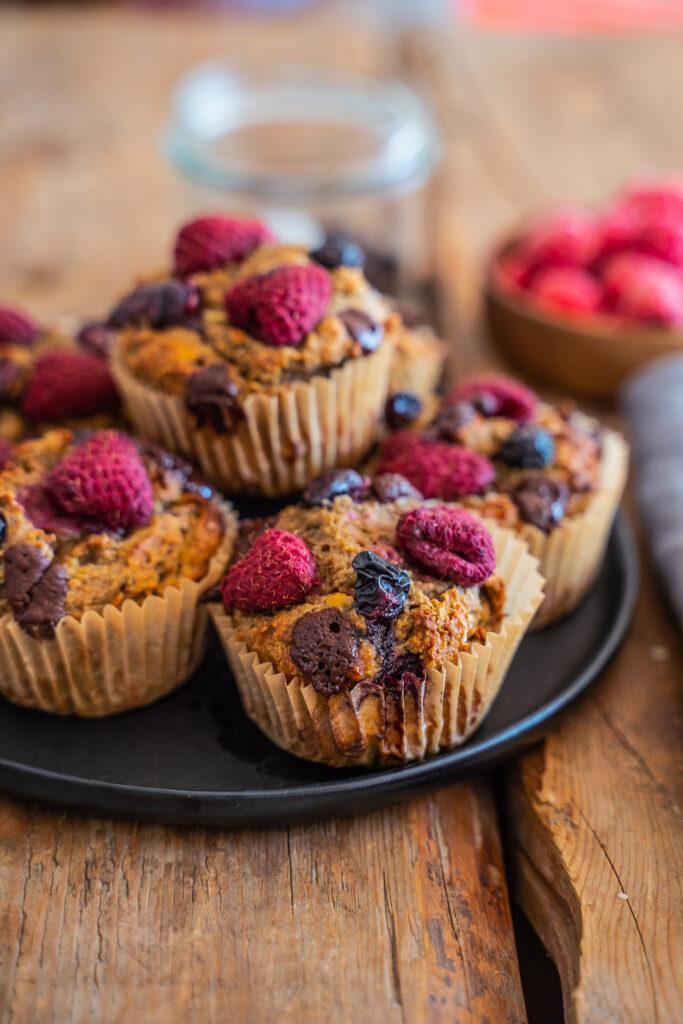 Gesunde Bananenbrot Muffins vegan und proteinreich Mrs Flury