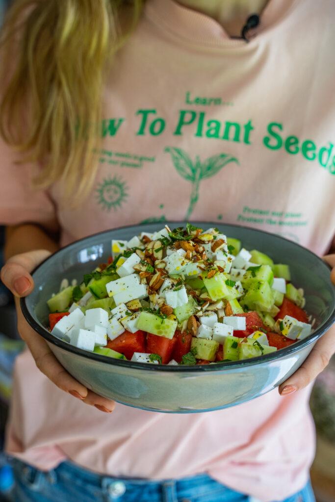 Wassermelonen-Feta-Salat Sommer Vegan Mrs Flury