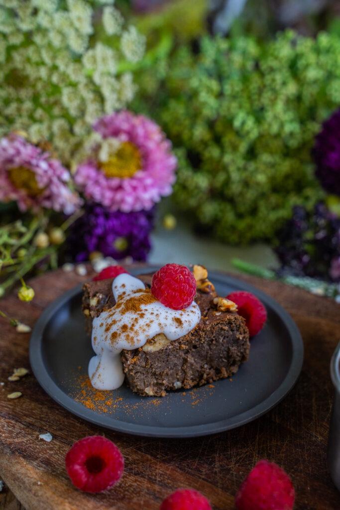 Brownie Baked Oats Vegan Rezept Mrs Flury Kakao Protein
