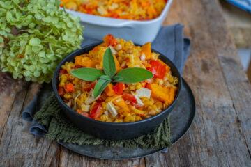 Kürbis-Pasta-Auflauf gesund und vegan Mrs Flury Rezept