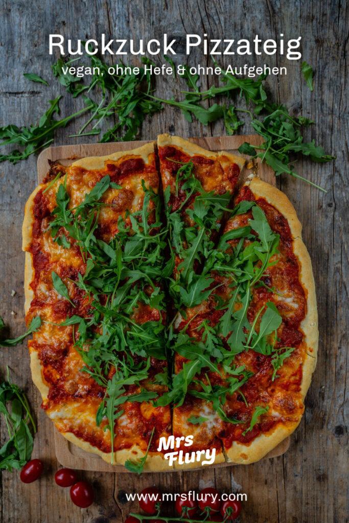 Ruckzuck Pizza ohne Hefe Rezept vegan Mrs Flury